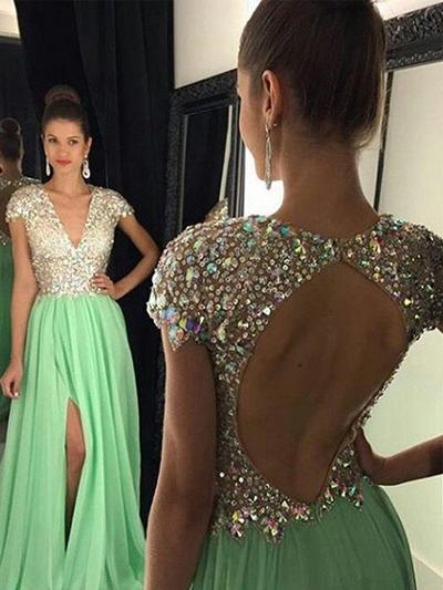 Chiffon Sleeveless A-Line/Princess Prom Dresses V-neck Sequins Floor-Length (018210332)