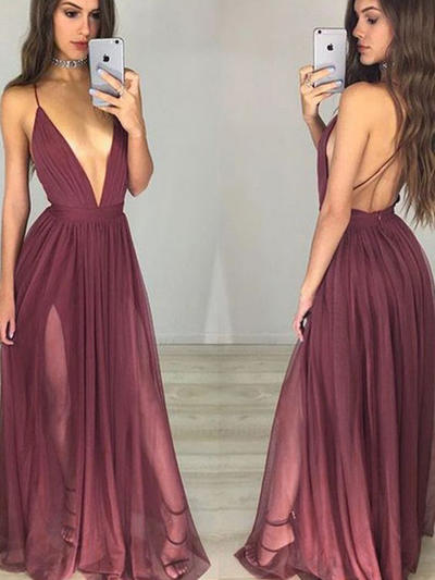 A-Line/Princess V-neck Chiffon Sleeveless Floor-Length Ruffle Evening Dresses (017196713)