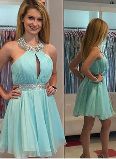 A-Line/Princess Halter Chiffon Sleeveless Knee-Length Beading Cocktail Dresses (016145290)