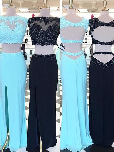 Satin Sleeveless Sheath/Column Prom Dresses Scoop Neck Beading Appliques Lace Floor-Length (018218111)