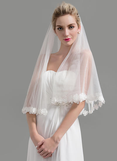 Waltz Bridal Veils Tulle One-tier Classic With Lace Applique Edge Wedding Veils (006151959)