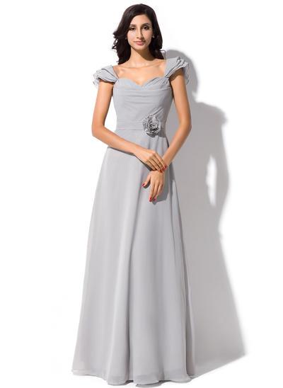 Chiffon Short Sleeves A-Line/Princess Bridesmaid Dresses Sweetheart Flower(s) Bow(s) Cascading Ruffles Floor-Length (007198444)