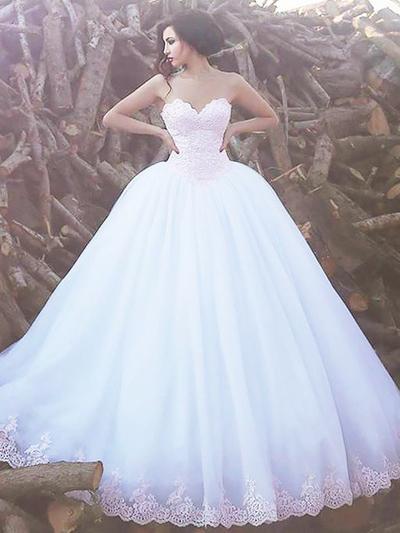 glamorous sweep wedding dress