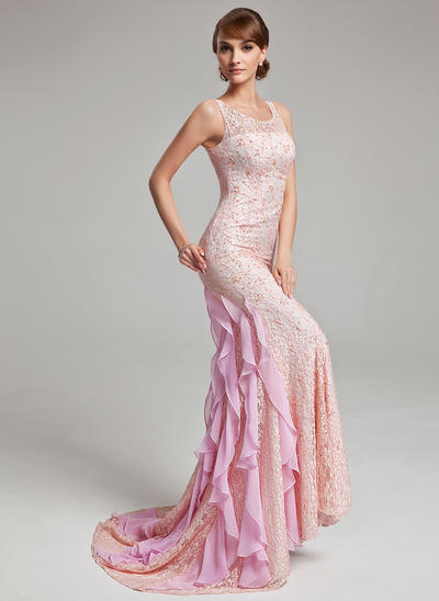 Trumpet/Mermaid Scoop Neck Lace Sleeveless Sweep Train Beading Cascading Ruffles Evening Dresses (017017526)