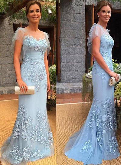 Trumpet/Mermaid Scoop Neck Tulle Short Sleeves Sweep Train Appliques Lace Mother of the Bride Dresses (008212733)