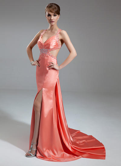 Trumpet/Mermaid V-neck Charmeuse Sleeveless Watteau Train Ruffle Beading Split Front Evening Dresses (017004461)