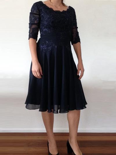 A-Linie/Princess-Linie U-Ausschnitt Chiffon 1/2 Ärmel Knielang Rüschen Applikationen Spitze Kleider für die Brautmutter (008212722)