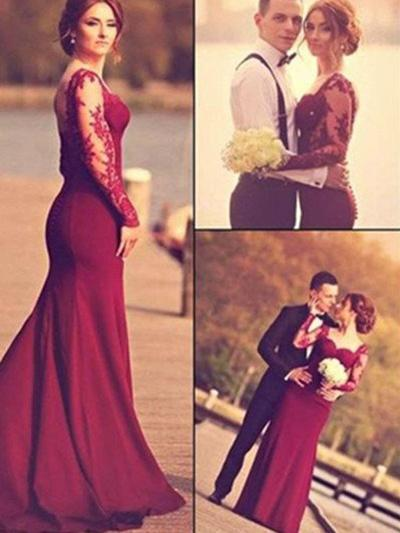 Satin Long Sleeves Trumpet/Mermaid Prom Dresses Sweetheart Appliques Lace Floor-Length (018210250)