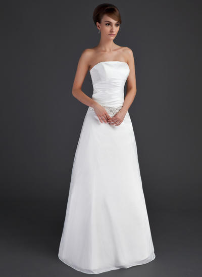 Glamorous Floor-Length A-Line/Princess Wedding Dresses Strapless Taffeta Sleeveless (002001666)