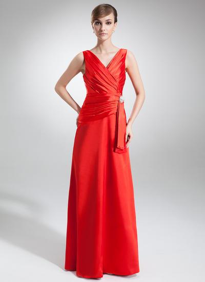A-Line/Princess V-neck Charmeuse Sleeveless Floor-Length Ruffle Crystal Brooch Evening Dresses (017002579)
