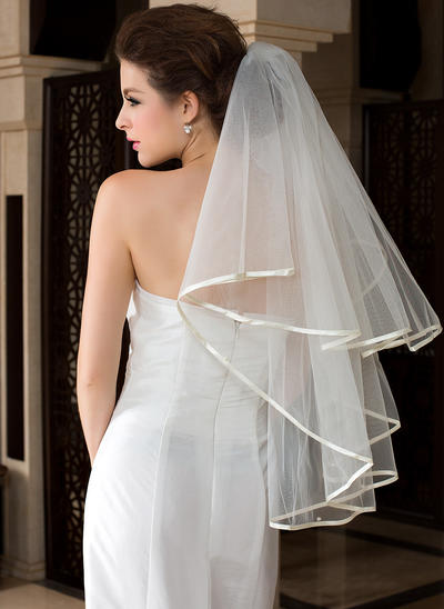 Waltz Bridal Veils Tulle One-tier Classic With Ribbon Edge Wedding Veils (006151484)