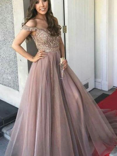 Tulle Sleeveless A-Line/Princess Prom Dresses Off-the-Shoulder Beading Floor-Length (018218088)