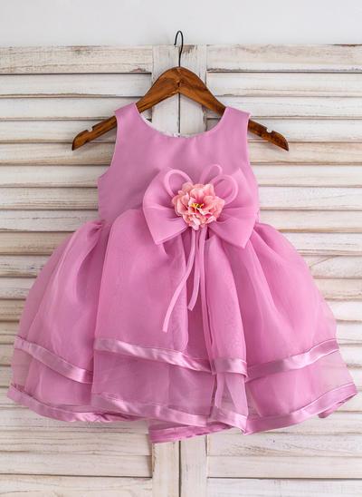 Newest Knee-length Ball Gown Flower Girl Dresses Scoop Neck Organza Sleeveless (010211638)