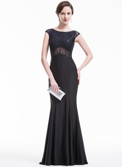 Trumpet/Mermaid Scoop Neck Jersey Sleeveless Sweep Train Beading Sequins Evening Dresses (017074984)