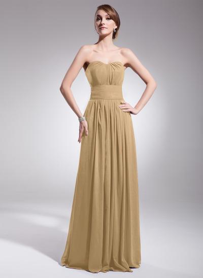 Chiffon Sleeveless A-Line/Princess Bridesmaid Dresses Sweetheart Ruffle Floor-Length (007063017)