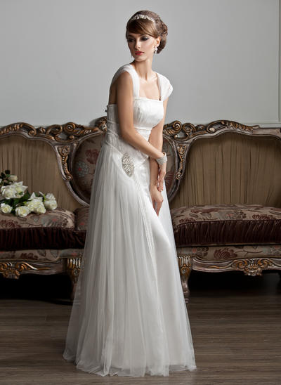 Elegant Floor-Length A-Line/Princess Wedding Dresses Square Tulle Sleeveless (002210412)