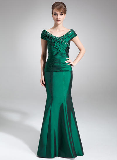 Trumpet/Mermaid Off-the-Shoulder Taffeta Sleeveless Floor-Length Ruffle Beading Mother of the Bride Dresses (008210401)