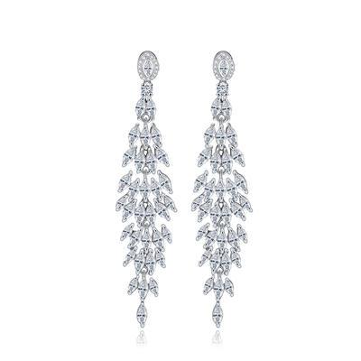 Earrings Copper/Zircon/Platinum Plated Pierced Ladies' Beautiful Wedding & Party Jewelry (011167218)