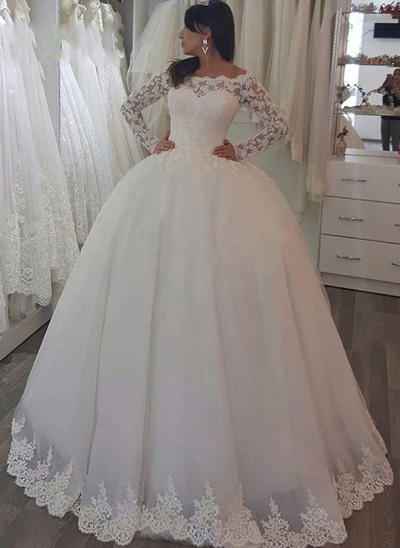 Newest Sweep Train Ball-Gown Wedding Dresses Off-The-Shoulder Tulle Long Sleeves (002148092)