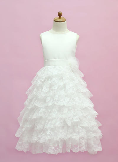 Fashion Floor-length A-Line/Princess Flower Girl Dresses Scoop Neck Satin/Lace Sleeveless (010005333)