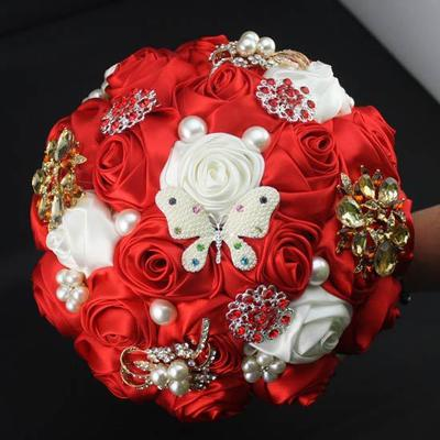 "Bridal Bouquets Round Wedding Satin 10.24""(Approx.26cm) Wedding Flowers (123190166)"