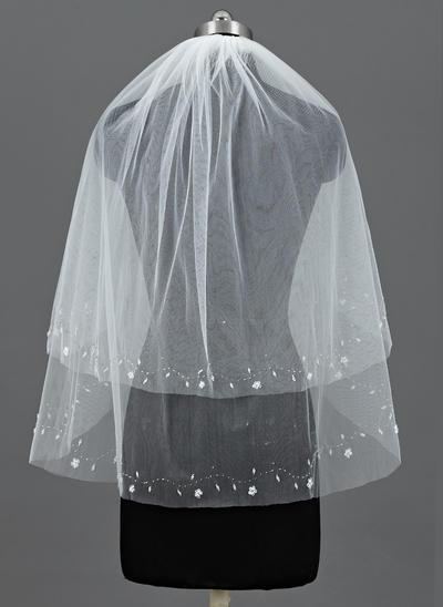 Ellenbogen Braut Schleier Tüll Zweischichtig Klassische Art mit Schnittkante Brautschleier (006151121)