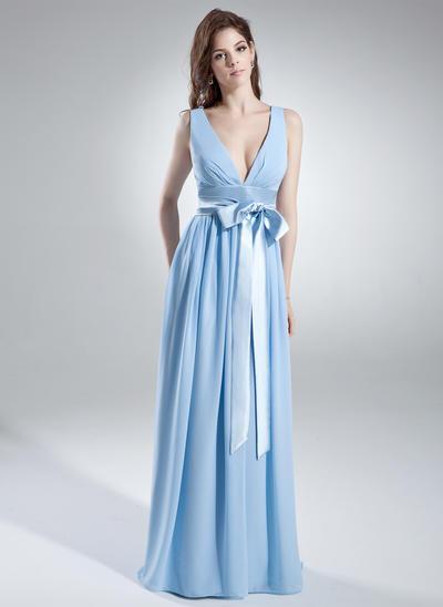 Chiffon Sleeveless A-Line/Princess Bridesmaid Dresses V-neck Ruffle Sash Bow(s) Floor-Length (007000846)