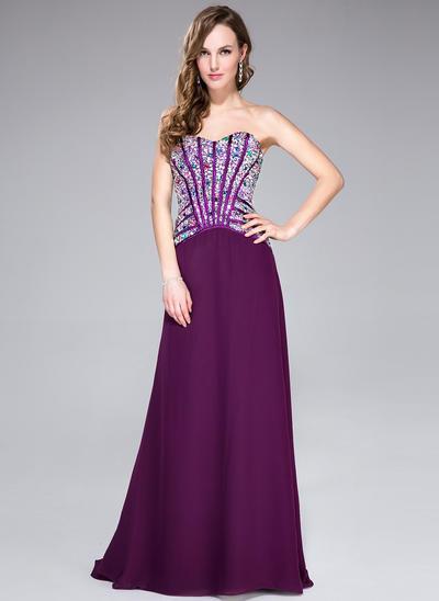 Chiffon Sleeveless A-Line/Princess Prom Dresses Sweetheart Beading Sweep Train (018044961)