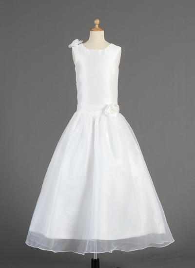 Simple Ankle-length A-Line/Princess Flower Girl Dresses Scoop Neck Taffeta/Organza Sleeveless (010014613)