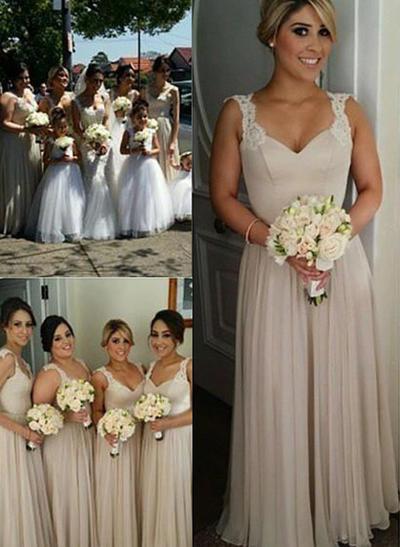 Chiffon Sleeveless A-Line/Princess Bridesmaid Dresses Sweetheart Appliques Lace Floor-Length (007211584)