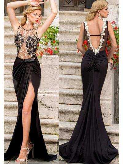 Jersey Sleeveless Trumpet/Mermaid Prom Dresses Scoop Neck Lace Sweep Train (018145887)