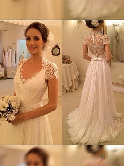 2019 New Sweep Train A-Line/Princess Wedding Dresses V-neck Chiffon Short Sleeves (002144819)