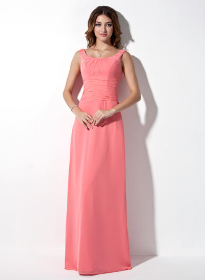 Chiffon Sleeveless A-Line/Princess Bridesmaid Dresses Scoop Neck Ruffle Floor-Length (007001873)
