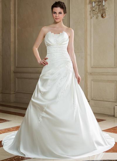 Elegant Chapel Train A-Line/Princess Wedding Dresses Scalloped-Edge Satin Sleeveless (002000605)