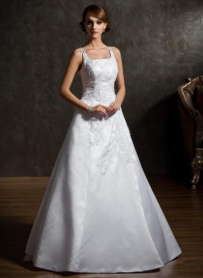 Flattering Floor-Length A-Line/Princess Wedding Dresses Square Satin Organza Sleeveless (002211055)