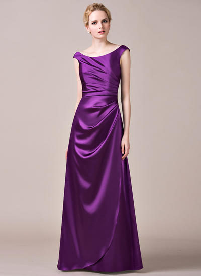 Charmeuse Sleeveless A-Line/Princess Bridesmaid Dresses Off-the-Shoulder Ruffle Floor-Length (007198396)