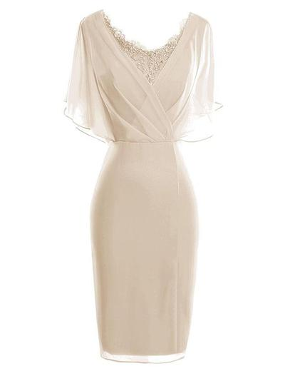 Etui-Linie V-Ausschnitt Chiffon 1/2 Ärmel Knielang Spitze Gestufte Rüschen Kleider für die Brautmutter (008146399)
