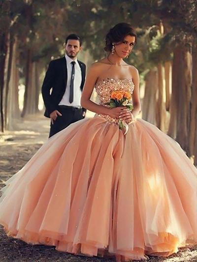 Organza Sleeveless Ball-Gown Prom Dresses Strapless Beading Floor-Length (018210222)
