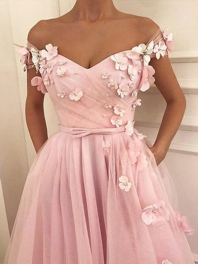 Tulle Sleeveless A-Line/Princess Prom Dresses Off-the-Shoulder Beading Appliques Lace Bow(s) Floor-Length (018218651)