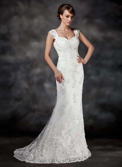 Princess Sweep Train A-Line/Princess Wedding Dresses Sweetheart Satin Tulle Sleeveless (002196822)