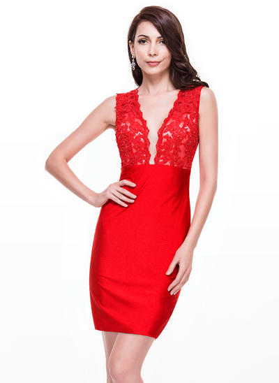 Sheath/Column V-neck Lace Jersey Sleeveless Short/Mini Beading Sequins Cocktail Dresses (016065508)