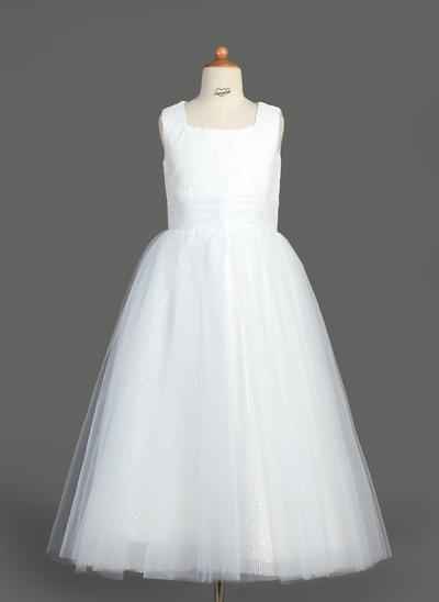 Stunning Tea-length A-Line/Princess Flower Girl Dresses Square Neckline Tulle/Sequined Sleeveless (010007313)
