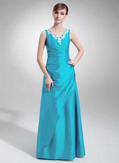 Taffeta Sleeveless A-Line/Princess Bridesmaid Dresses V-neck Ruffle Appliques Lace Floor-Length (007002103)
