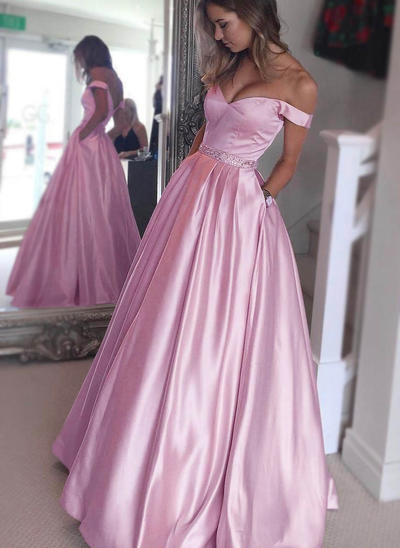 Satin Sleeveless A-Line/Princess Prom Dresses Off-the-Shoulder Beading Floor-Length (018145855)