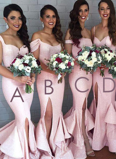 Sequined Sleeveless Trumpet/Mermaid Bridesmaid Dresses Sweetheart Off-the-Shoulder Split Front Sweep Train (007144986)