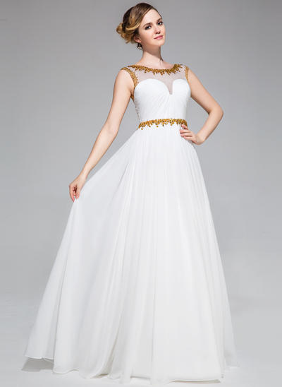 Chiffon Sleeveless A-Line/Princess Prom Dresses Scoop Neck Ruffle Beading Sequins Floor-Length (018051162)