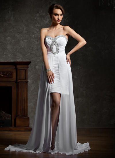 Chiffon Sleeveless A-Line/Princess Prom Dresses Sweetheart Ruffle Beading Asymmetrical (018021112)