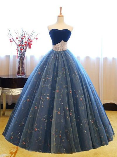 Tulle Sleeveless Ball-Gown Prom Dresses Sweetheart Beading Appliques Lace Floor-Length (018218647)