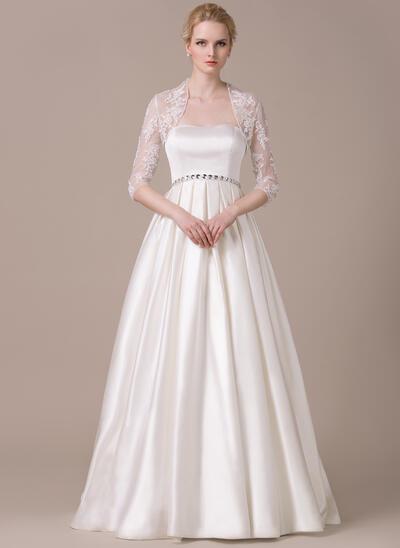 Fashion Floor-Length A-Line/Princess Wedding Dresses Sweetheart Satin Sleeveless (002210565)