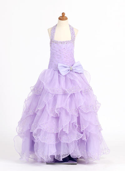 Flattering Floor-length Ball Gown Flower Girl Dresses Scoop Neck Organza/Charmeuse Sleeveless (010007321)